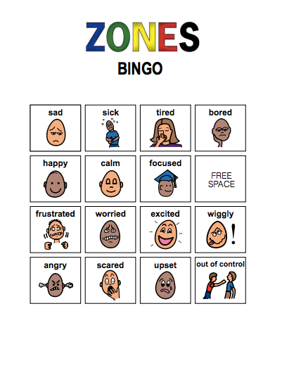 This is a graphic of Terrible Zones of Regulation Printable